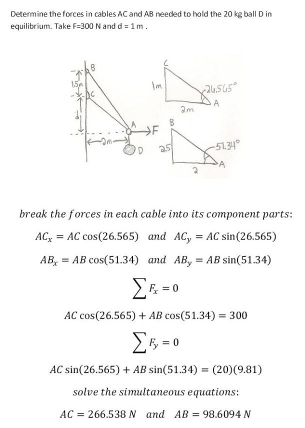 Solution Determine The Forces In Cables AC And AB Needed To