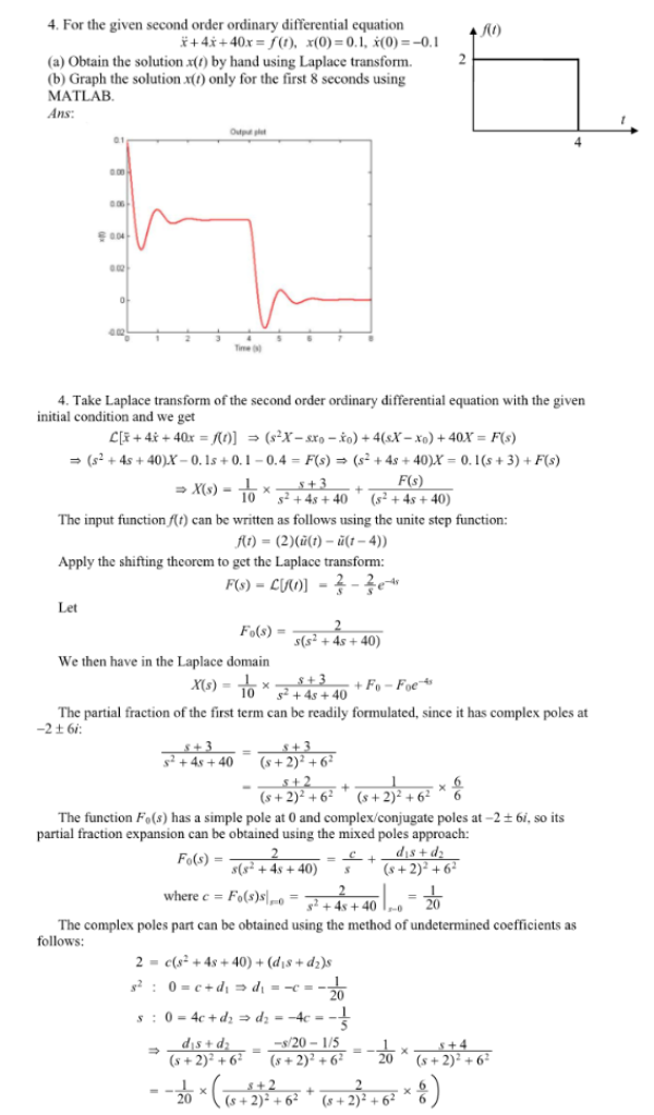 For the given second order ordinary differential equation